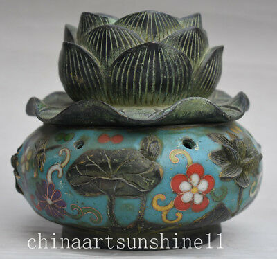 Exquisite Chinese Collection Old Cloisonne Incense Burner Handmade Carved Lotus