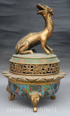 Chinese Collection Old Cloisonne Incense Burner Handmade Carved Dragon Statue