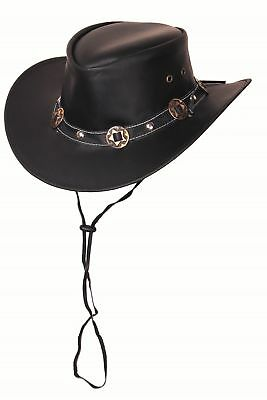 Scippis Rugged Earth Leather Hat Cowboy Hat Western Hat Concho, Black, S-XL