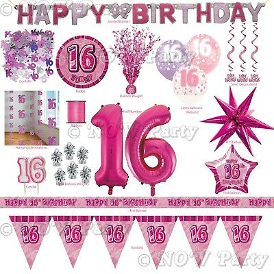 Pink Girl Milestone Special 16th Age 16 Birthday Party Supplies Decorations