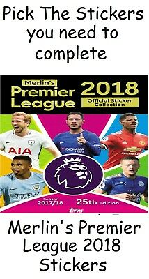Merlin Premier League 2018 stickers. Pick the stickers you need Merlins Topps.
