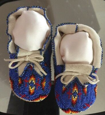 Blue Accented Native American Hand Made, Hand Beaded Baby Moccasins-Very Rare