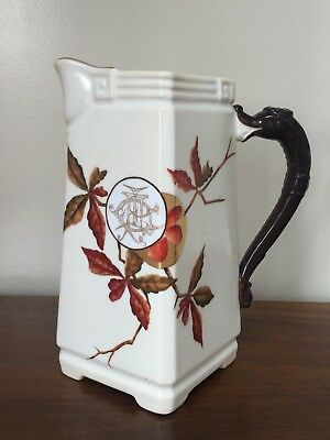 Antique Hand-Painted Aesthetic Movement Floral Water Pitcher c.1886