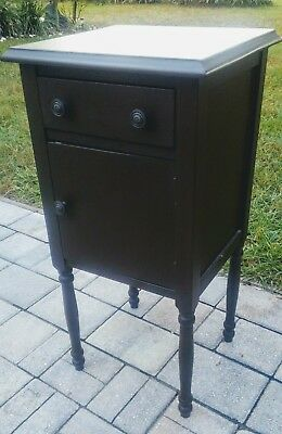 Antique mahogany nightstand cabinet end table primitive federal vintage