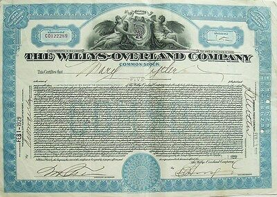 The Willys-Overland Co.(Jeep) Common Stock Certificate- Five Shares, 1929