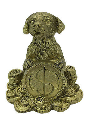Chinese Year of the Dog Zodiac Statue Figurine Gold Resin Feng Shui