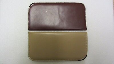 2X Glasses cases, soft leather look, light brown & medium brown, large (R4)