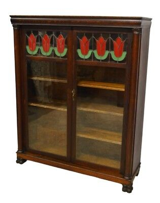 Larkin & Co Antique Quartersawn Oak Two 2 Door Bookcase w. Leaded Glass