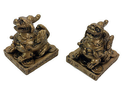 Chinese Pi Yao Pi Xiu Statue Figurine Pair Gold Resin Year of the Dog Wealth