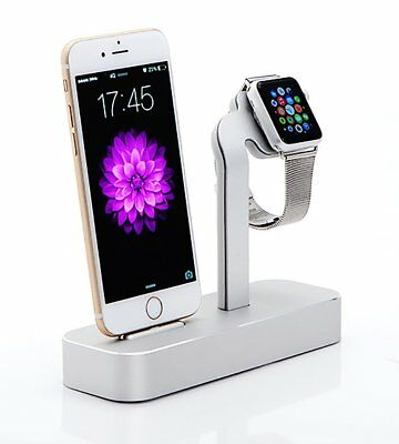 Aluminum Charging Dock 2 in 1 Charger Stand for Apple iWatch & iPhone Silver
