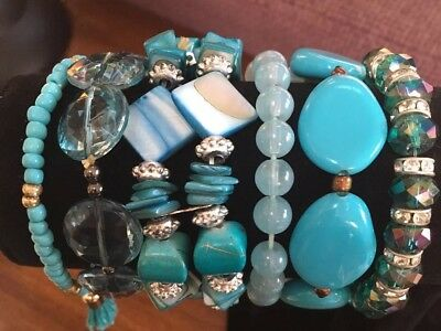 Lot Of Six Vintage Turquoise Stretch Bracelets Rhinestone, Natural Stone, Shell