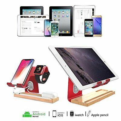 Android iPhone & Apple Smart Watch Wooden and Aluminum Charging Stand Red
