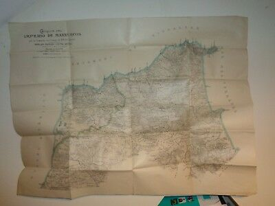 Antique Map of Morocco Commissioned by Army Tangier-Tetuan-Cueta-Arzila, HUGE
