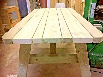 Wooden Outdoor dining table/ 4ft/ 5ft or 6 ft long..Heavy duty, tanalised