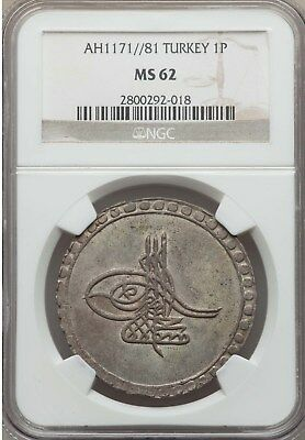 1767 AH 1171//81 Turkey 1 Piastre NGC MS 62 Rare Only Coin Graded by NGC & PCGS
