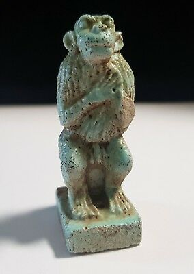 Egyptian Faience Glazed Baboon Amulet of Thoth