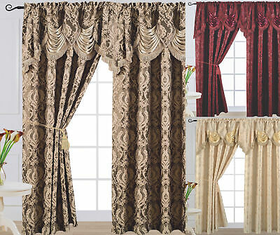 "Luxury Jacquard Curtain Panel with Attached Waterfall Valance 54"" X 84"" Arlene"