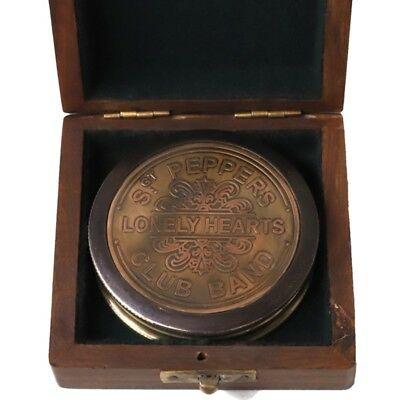 Vintage Nautical Compass Lonely Heart poem Antique Brass Gift