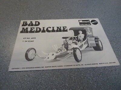MODEL KIT REPLACEMENT INSTRUCTION BAD MEDICINE  Tom Daniels monogram MATTEL
