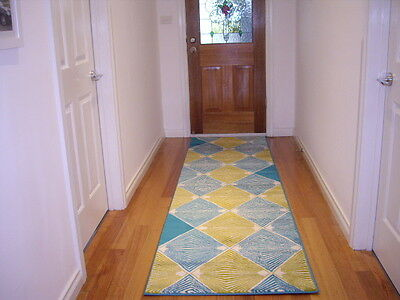 Hallway Runner Hall Runner Rug 3 Metres Long Modern Blue Yellow FREE DELIVERY