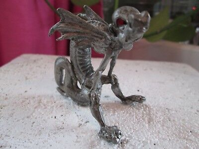 Vintage Pewter Marked Dragon With Wings And Red Ruby Eyes Figurine