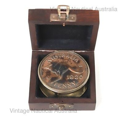 Vintage Nautical Compass 1930 Australian Penny Brass Gift