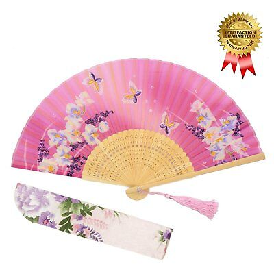 OMyTea Hand Held Silk Folding Fans with Bamboo Frame - With a Fabric Sleeve for