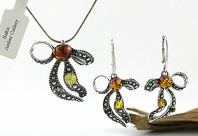 NATURAL BALTIC AMBER SILVER 925 EARRINGS & PENDANT + CHAIN SET Certified & Box