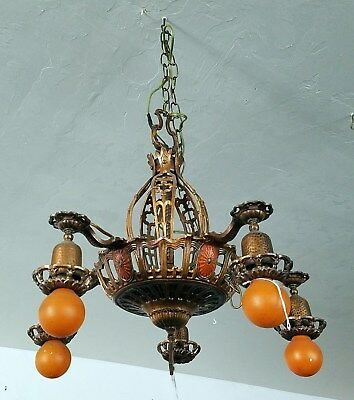 Antique bronze metal Chandelier orange lights