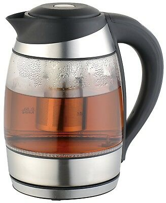 Culinary Edge Electric Glass Digital 1.8L Tea Kettle with Tea Infuser - NEW