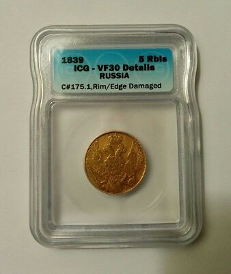 ICG 1839 Russia Gold 5 Rubles ICG VF 30
