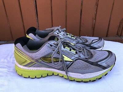 634d21a3796 Euc Mens Brooks Ghost 8 Running Shoes Size Us 12.5 Gray Lime Yellow Green  White