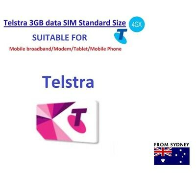 Telstra 3GB DATA Prepaid SIM CARD For internet Standard Size(BUY 5 GET 1 FREE)