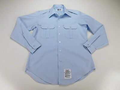 USAF US Air Force Military Dress Blue 1550 Poly/Cotton Long Sleeve Shirt 16 x 35