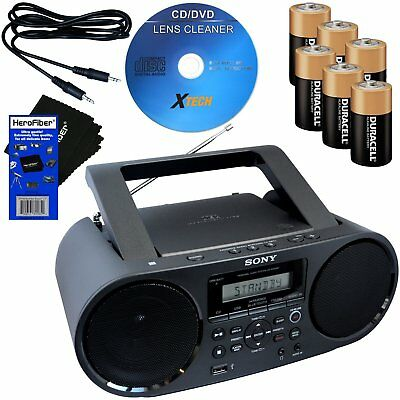 Sony Bluetooth & NFC Boombox w/CD Player, Radio & USB + Batts,Aux Cable, Cleaner