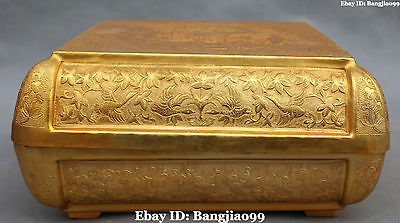 """10"""" China Bronze Gold Gilt Ancient Dynasty Bird Tuck Box Pastry Case Casket"""