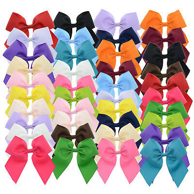 """Solid Color Grosgrain Cheer Bow Hair Clip for Girls Teens 40Pcs 4"""""""