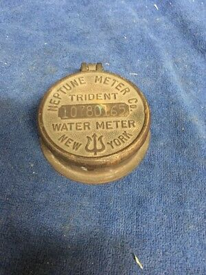 Vintage Brass Neptune Trident Water Meter Cover Metrometer Co New York