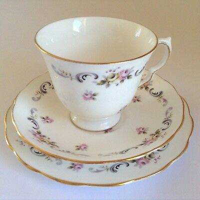 1960s QUEEN ANNE English Bone China Rose Bud TRIO Cup Saucer Plate Staffordshire