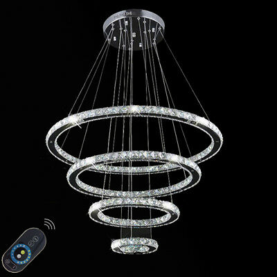 4 LED Rings Crystal Ceiling Chandeliers Pendant Hanging light Fixtures W/ Remote