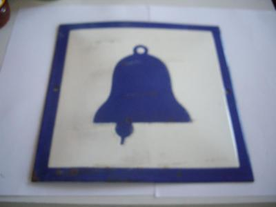 "50s Vintage Enamel Blue & White Tin Sign Plate - "" Signal Bell """