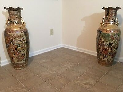 2 36 Inch Oriental Vase Japanese With Two Pictorials