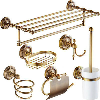 Antique Brass Bathroom Accessories Robe Hook-Paper Holder-Towel Bar Towel Ring S