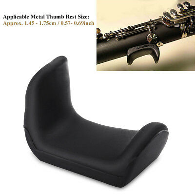 Rubber Thumb Finger Rest Cushion Adjustable for Oboe Clarinet Instruments, Black
