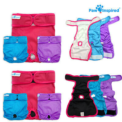 3/12ct Paw Inspired Ultra Protection Washable Dog Diapers, Reusable, Female