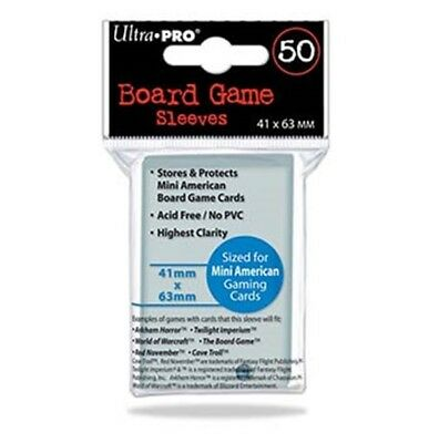 ULTRA PRO Mini American Board Game Card Sleeves Clear Size 41 x 63mm 50ct