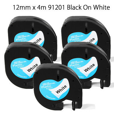 5Pk 12mmx4m Plastic Label Tape Compatible For Dymo LetraTag 91201 Black On White