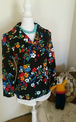 vintage 70s jacket floral PSYCHEDELIC hippy FABULOUS cloth buttons 14