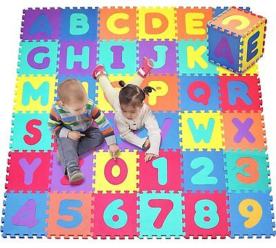 Click N' Play, Alphabet and Numbers Foam Puzzle Play Mat, 36 Tiles Each Tile 12