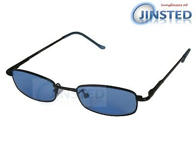 High Quality Sunglasses Blue Tinted Lens Dark Frame Spring Loaded Arms CL018